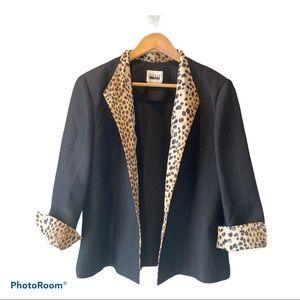Leslie Fay Leopard Trim Blazer Jacket